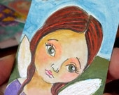 ACEO original Fairy Girl shiny wings tiny painting atc OOAK art card miniature