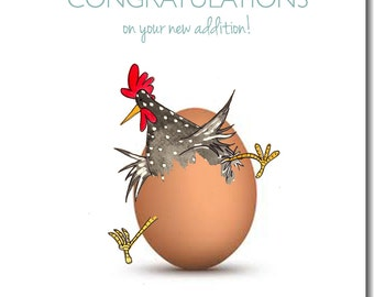 New Addition Greeting Card - New Baby Card, Chicken Greeting Card, New Parents