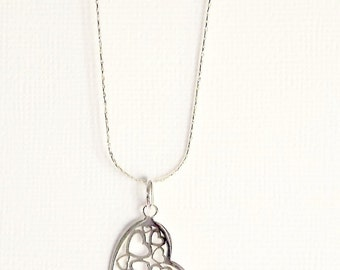 Heart Necklace Sterling Silver Heart Pendant Necklace,  Original Heart Necklace, Heart Jewelry Heart Pendant Necklace