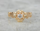 Antique Rose Gold engagement Ring with Bright Diamond Center Y8DH3W-R