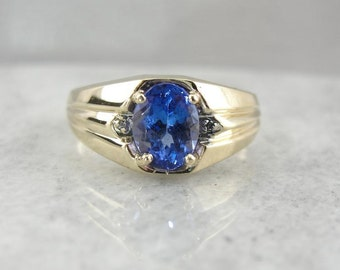 Vintage Men's Ring With Deep Blue Tanzanite 8N3ZT5