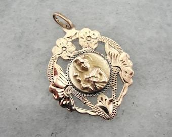 Rose Gold Catholic Medal With Beautiful Flowers, Saint Barbara D8XVJ9-D