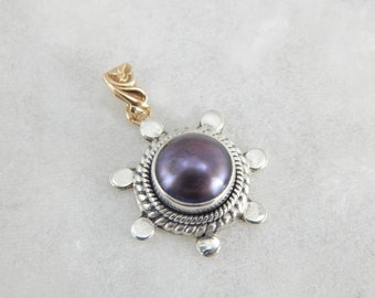 Purple Pearl And Mixed Metals Pendant 4FRH9L-R