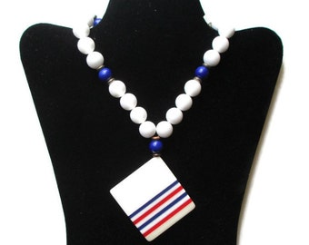 Vintage Hippie Era Patriotic Red White & Blue Chunky Lucite Plastic Necklace with Large Pendant