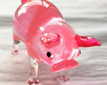 Glass Animal Figurine: Polly the Pink Pig. A classic little collectible figurine. Made from boro glass in piggy pink.