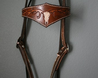 Leather Horse Bridle, Tooled with Elk, Deer skull and Antlers with a basket weave design, and stained, western bridle, headstall,