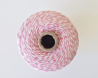 Light Pink and White Bakers Twine - 218 Yards
