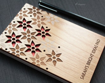 Custom Notepad - Personalized Memo Pad with Wood Cover  - Wood Stationery - Colorful Floral Pattern