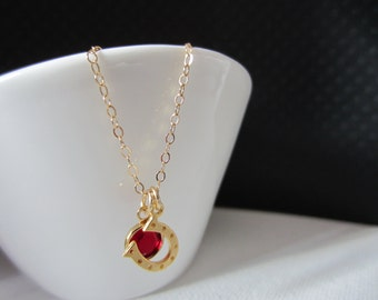 Necklace Mini Horseshoe and birthstone- Gold 14 kt chain