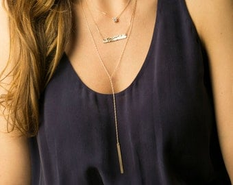 Everyday Delicate Layered Necklaces with Bar Necklace / Silver, Rose Gold or Gold Lariat Necklace Set of 3 by Layered and Long LS924