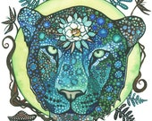 Moon Cat 5 x 7 print of detailed watercolour artwork of Leopard, turquoise aqua blue & lime green, ferns mushrooms lilies lotus sacred wild