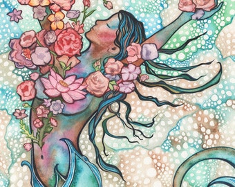 Tidal Bloom 8.5 x 11 print of detailed watercolour artwork in turquoise peach rose pink blush earth tones, sacred gaia goddess divine female