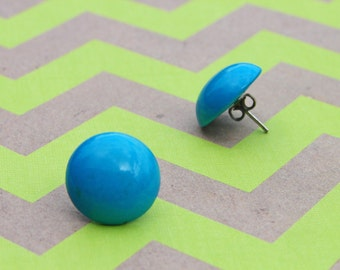 Vintage Teal Blue Enamel Pierced Earrings Retro 80s Bright Funky Robin Egg Jewelry Geometric Gumdrop Delicate Candy Dot Sky Ocean