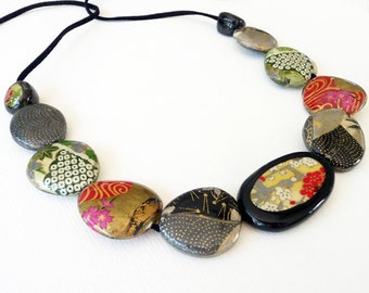 Origami Golden Blossom Bead Necklace, Japanese Chiyogami Paper Decoupage and Resin covered Wooden Bead