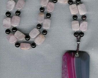 Mystique - Banded Druzy Agate, Rose Quartz, Garnet, Freshwater Pearls, Sterling Silver Necklace