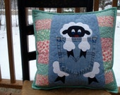 Pink and Green Fluffy White Sheep Quilted Denim Pillow made with recycled denim jeans