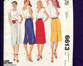 1970's McCalls 6613 Sultry Front Button Straight Skirts Size 16..18..20 UNCUT