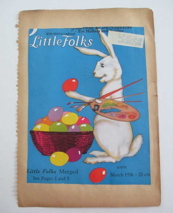Vintage 1926 Easter Bunny Baby Chicks Magazine Cover, Little Folks, Hildegarde Blumenstiel illustration art
