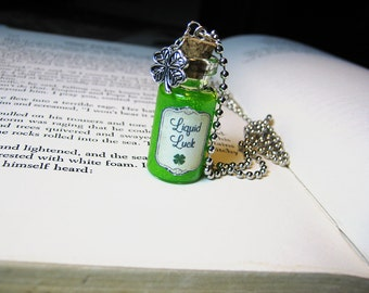 Liquid Luck 2ml Glass Bottle Necklace Charm - Bottled Luck Cork Vial Pendant - Shamrock Good Luck Clover St Patrick's