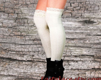 Lacey Socks Over The Knee Ivory Socks Boot Socks Cable Knitted Socks Women Socks Cotton Socks