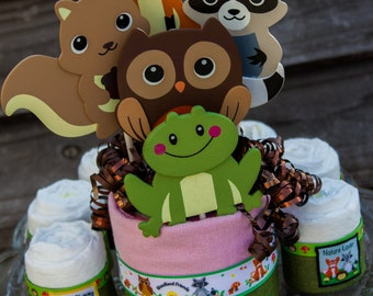 Woodland Friends Diaper Cake Centerpiece, Baby Shower Centerpiece Woodland Friends Theme