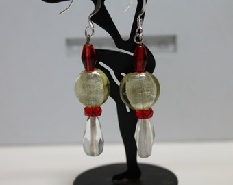 Clear and Red Glass Earrings