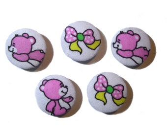 Fabric covered buttons, Children buttons, pink buttons, cloth buttons, medium buttons, animal buttons, patchwork fabric button