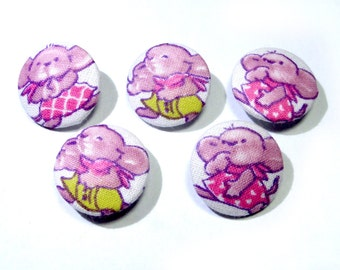 Funny buttons, Fabric covered buttons, children buttons, cloth buttons, pink purple buttons, animal buttons, patchwork fabric button