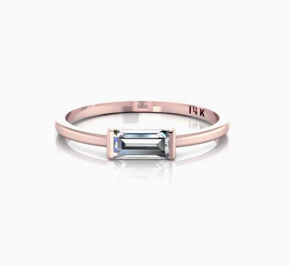 SOLID 14K Rose Gold Tiny Horizontal Baguette Ring Sideways Baguette Crystal
