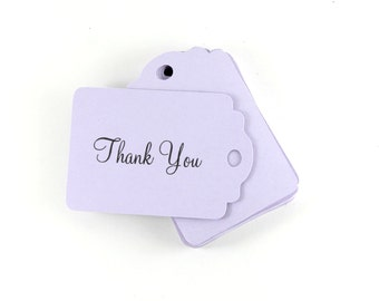 Pale Purple Thank You Tags Set of 20, Merchandise Tags, Favor Gift Tags, Wish Tree, Thank You Script Tags, Light Purple Shower Tags