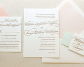 The Begonia Suite - Classic Letterpress Wedding Invitations Sample- Mint, Peach, Blush, Gold. Traditional, Romantic, Formal, Simple