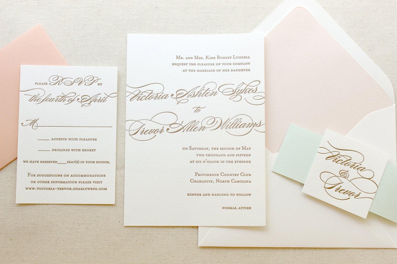 The Begonia Suite Classic Letterpress Wedding Invitations