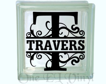 Monogram Glass Block Decal, Personalized Custom Decal, Vinyl Monogram Decal for a DIY Glass Block, Frames, and more...Block Not Included