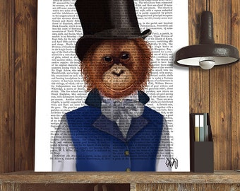 Orangutan in Top Hat, Monkey Illustration monkey Art Print Painting wall art wall decor Digital Print monkey picture monkey print