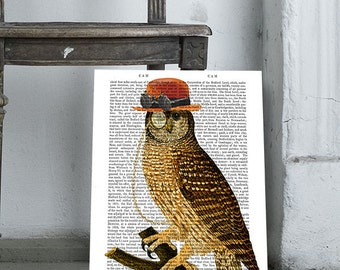 Steampunk Owl On Branch wall art wall decor upcycled recycled dictionary book page art print, bird, bowler hat