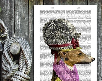 Vintage Greyhound dog poster dog decor dog illustration dog picture dog gift for dog lover dog Print dog art greyhound print, greyhound art