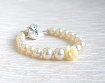 Set of two 2 Ivory Flower Girl Bracelets Ivory Flower Bracelet Ivory Pearl Rhinestone Bracelet Flower Girl Jewelry Wedding Accessories