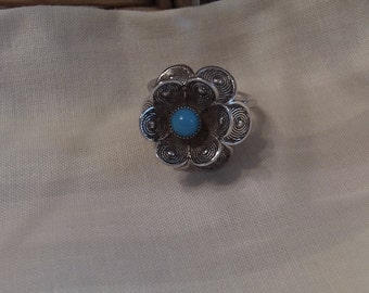 Sarah Coventry Blue Buttercup Adjustable Ring 5292   Vintage, Silver, Turquoise, Flower
