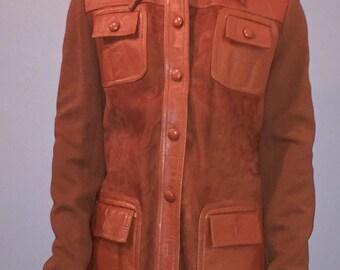Cognac Leather/suede Front Jacket