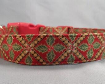 Christmas Dog Collar Diamond Holly on Red