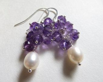 Amethyst Earrings, Pearl Earrings, Faceted Amethyst Semi Precious February June Birthstone Earrings, Sterling Silver Cluster Purple Earrings
