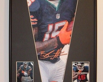 Chicago Bears Brandon Marshall Pennant & Cards...Custom Framed!!!