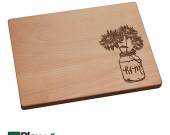 Personalized Mason Jar Sunflower Design Engraved Cutting Board, Personalized Wedding Gift, Custom Cutting Board, Wedding Present,