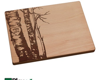 Personalized Engraved Cutting Board w/ Birch Tree Design 11x16 or 9x12, Personalized Wedding Gift,Bamboo,Custom Cutting Board, Wedding Gift