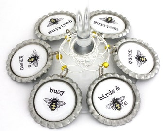 Wine glass charms bee party favors bumblebee drink tags.