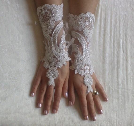 Wedding glove, bridal glove, fingerless lace, steampunk, Sparkle gloves, victorian, lolita, sexy belly dance, hand sewing