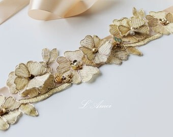 Golden Lace Flower Wedding Bridal Belt with Champagne Sash