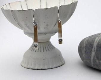 sterling silver heart stamped dangle earrings