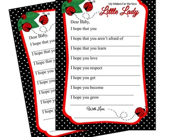 Ladybug Wishes For Baby Card, Instant Download  - Digital File