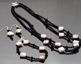 Peruvian Pink Opal and Swarovski Crystal Bead Jewelry Set